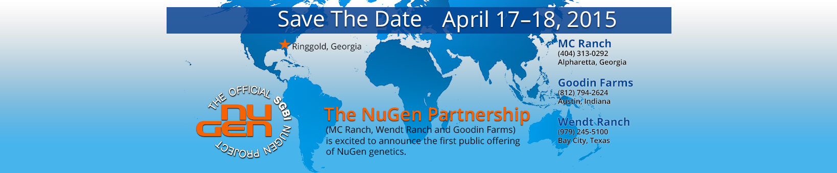 NuGen Foundation Sale: Save the Date – April 17-18, 2015